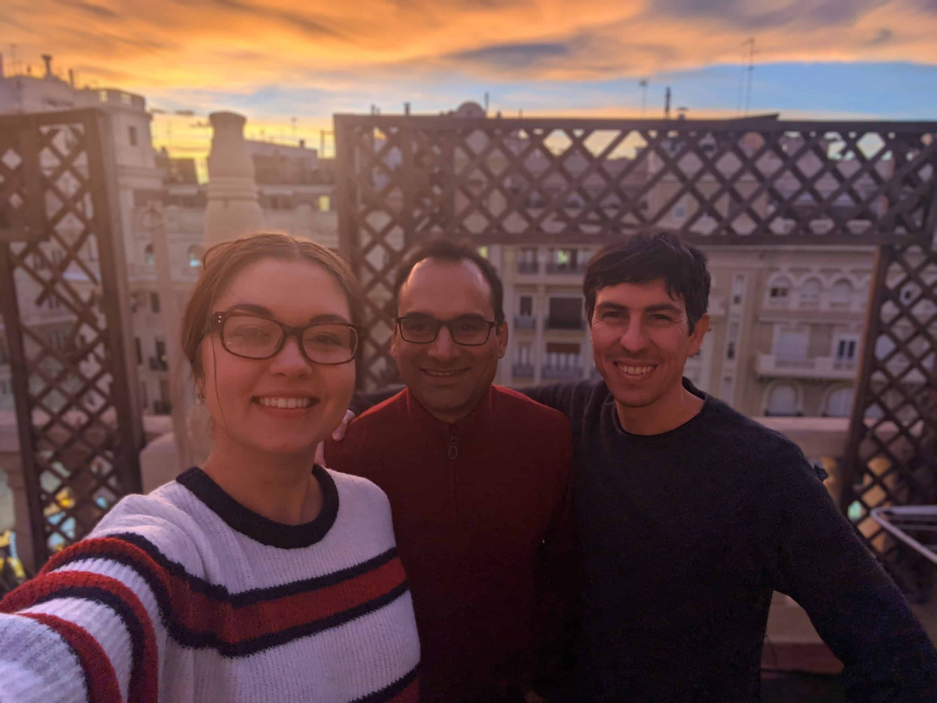The Basepair team in Valencia, Spain. Left to right: Janneta (marketing), Amit (CEO), Blas (software).